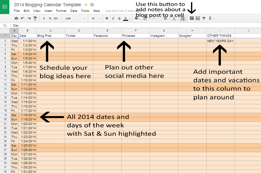 Get Your Blog Organized In Free Blog Calendar Template Kate - Blog post schedule template