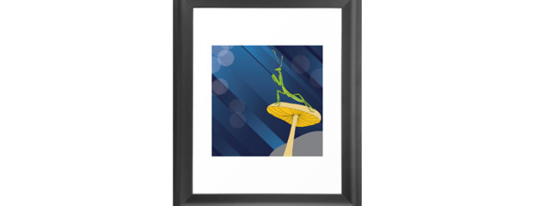 Drawing of Praying mantis, framed print for sale on Society6